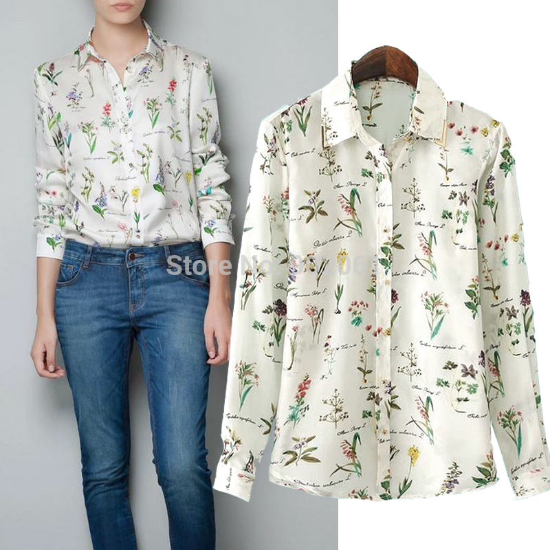 Women's Metal Buttons Print Flowers Cami Body Blouse Shirt cardigans Loose Office blouse of income Long Sleeve Chiffon Tops 0904(China (Mainland))