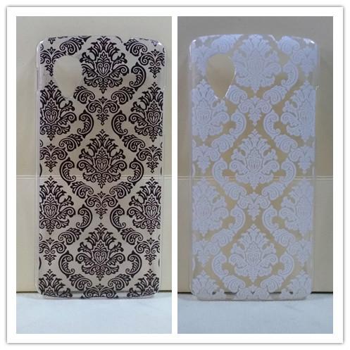 Vintage Black &White Paisley Flower Hard Floral PlasticSkin Cover Case for LG Google Nexus 5 D820 D821 drop shipping(China (Mainland))