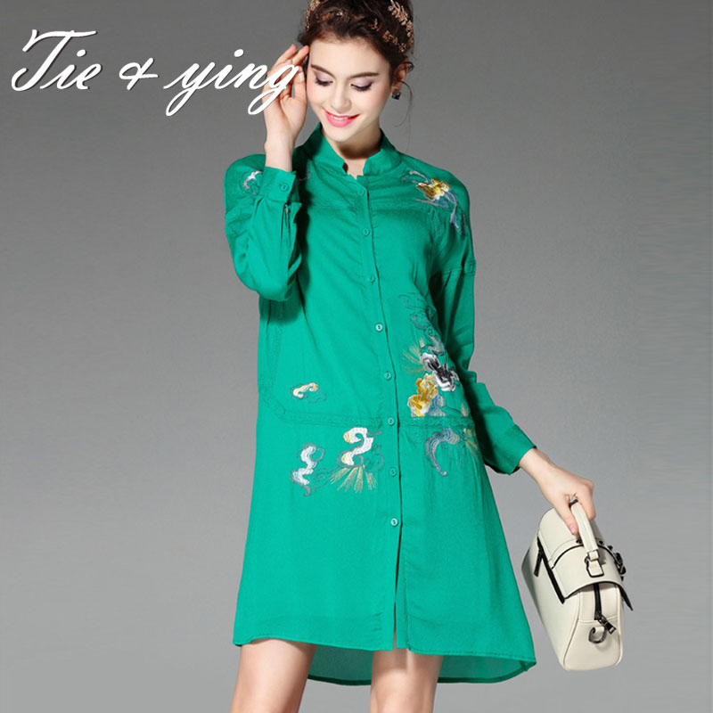 High-end women vintage royal embroidery floral silk blouse shirt 2016 European runway long sleeve elegant lady shirt dresses(China (Mainland))