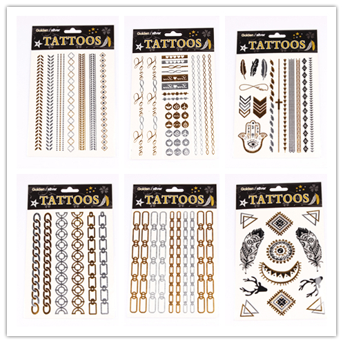 T001-006 NEW Design 2015 Sex Flash Temporary Tattoo Necklace Choker Bracelet Tattoo Flash Golden Metalic Henna fake Body Art #46(China (Mainland))