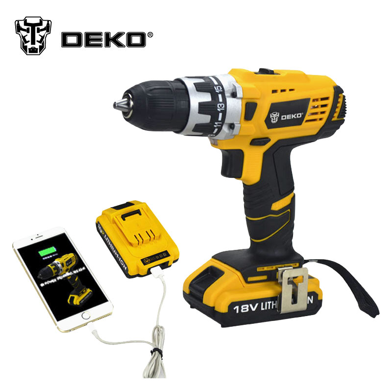 DEKO 18V DC New Design Mobile Power Supply Lithium Battery Cordless Drill Power Tools Mini Drill Electric Drill(China (Mainland))