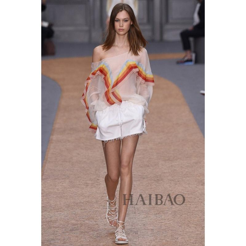 2016 spring new runway shirt women sexy chiffon shirt U030710Одежда и ак�е��уары<br><br><br>Aliexpress