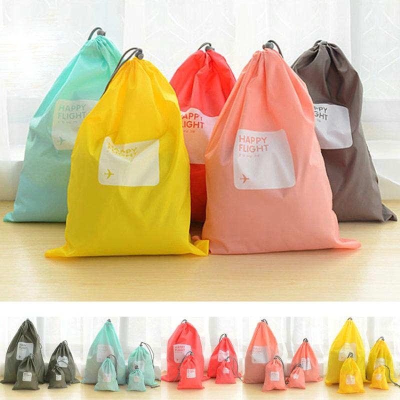 Luggage Organizer Set Waterproof Storage Bag Packing Travel Bag Nylon Cosmetic Travel Shoe Laundry Lingerie bag 4pcs/lot(China (Mainland))