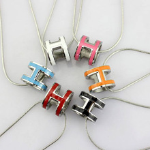 2015 New Style! Luxury Brand Titanium Steel Gold Plated Multi Color 3D Oval Hollow Letter Snake Chain H Necklace, Birthday Gift(China (Mainland))