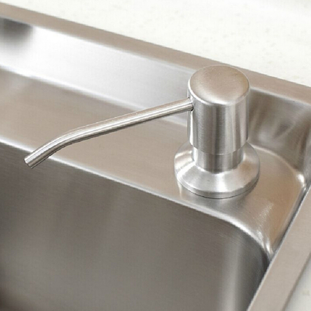 Free Shipping Wholesale And Retail Cheap Stainless Steel & Plastic Kitchen Sink Liquid Soap Dispenser Deck Mounted 220ML
