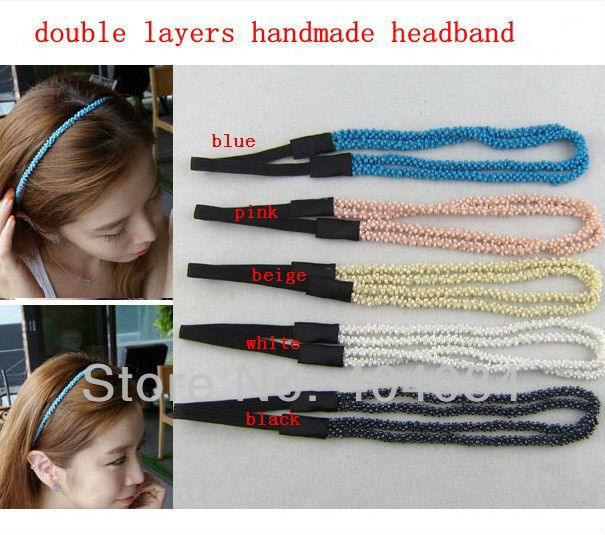 Trial order 5color 5pcs/lot Double layer pearl elastic headband fashion hair accessory handmade hairbands(China (Mainland))