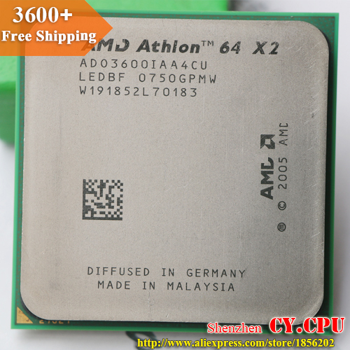 For AMD Athlon 64 X2 3600+ CPU Processor (2.0Ghz/ 1M /1000GHz) Socket am2 free shipping 940 pin(China (Mainland))