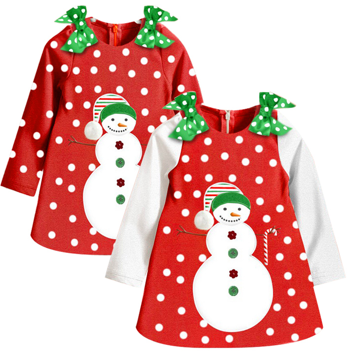 Baby Girl red Christmas Dress New 2016 Girl's Long Sleeve Merry Christmas Dress Kids Cotton Casual party Tutu Dress 66(China (Mainland))