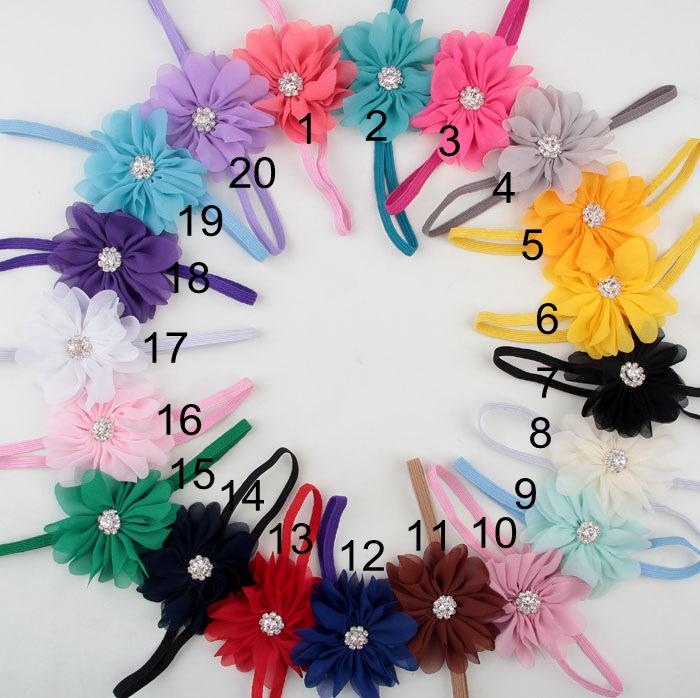 Free shipping , 20 pcs/lot , Baby Girls Chiffon Ballerina Flower with Rhinestone Skinny Headband(China (Mainland))