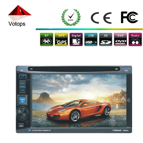 6.2'' Touch Screen Car Stereo DVD GPS Double 2 Din DVD Player Bluetooth/TV FM/AM +4G Memory Card Free Map(China (Mainland))