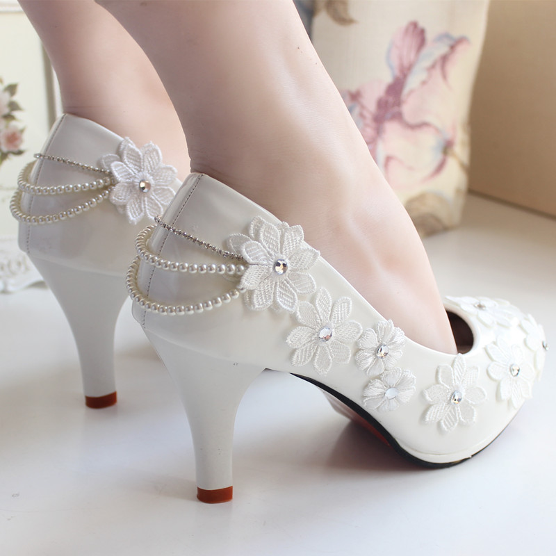 The Bride Wedding Shoes Lace Rhinestone Handmade Lace Flower Formal Dress High Heels Women Pumps