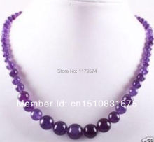 "Free shipping new noble all-match woman Lovely!6-14mm Amethyst Round Beads Jasper long Necklace Natural Stone 18""xu11(China (Mainland))"