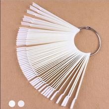 50 Teile/los Falsche Nagel-kunst-spitze-sticks Polnischen Anzeige Fan Praxis-werkzeug Foren Nails Werkzeuge Make-Up Weiß/Transparent(China (Mainland))