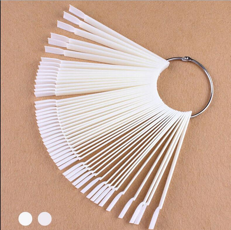 50Pcs/Lot White/Transparent False Nail Art Tips Sticks Polish Display Fan Practice Tool Board Nails Tools(China (Mainland))