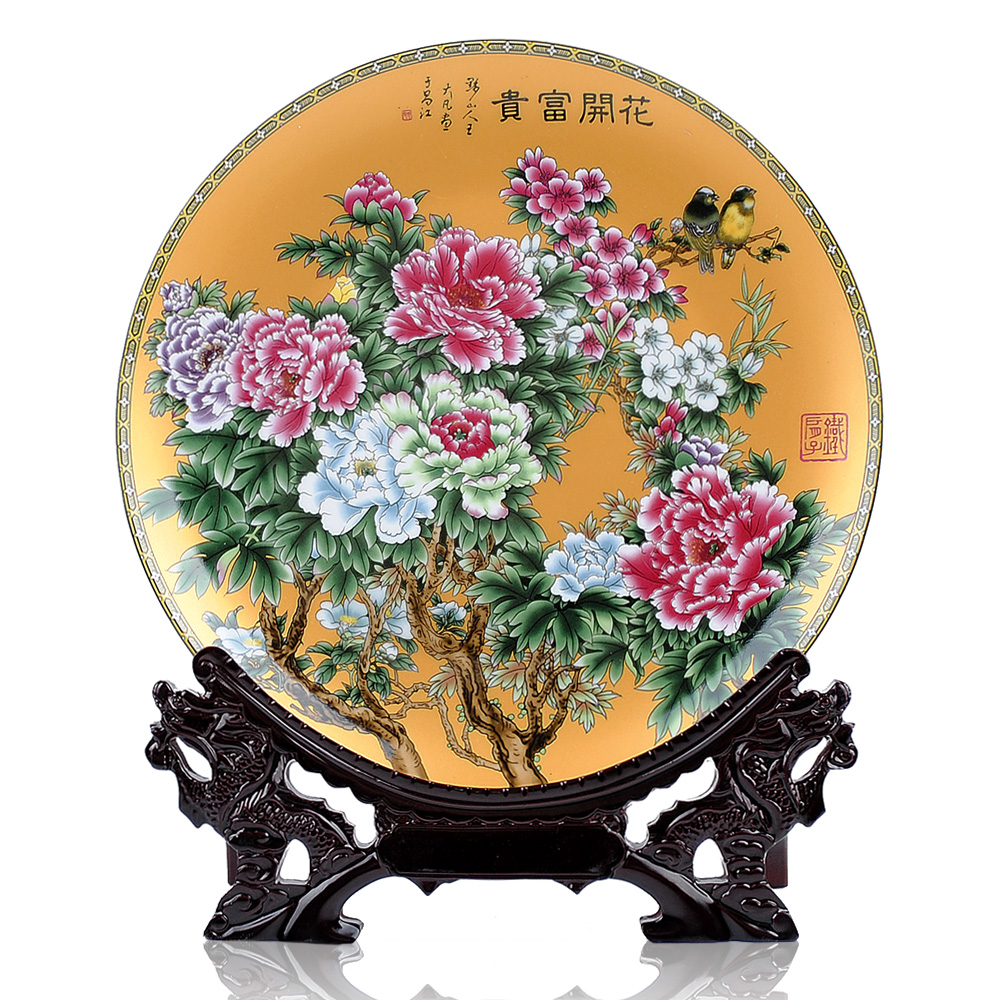 Chinese Jingdezhen Ceramic antique pastel flowers rich gold plate home decoration decoration panel. free delivery(China (Mainland))