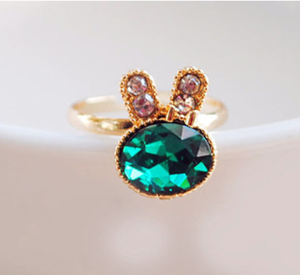 Rabbit Rings - NEW FASHION HOT SALE WHOLESALE Emerald Opening Adjustable Finger Snow Bunny Rabbit Animal Ring#1774395(China (Mainland))