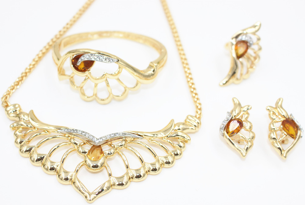 2015 new fashion design African bride 18K gold-plated crystal jewelry set filled with African bead jewelry sets wedding Nigeria(China (Mainland))