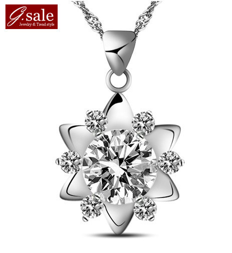 GS brand DZ-6 floating charms  fashion female 925 stamp silver + zircon crystal + platinum plated necklaces & pendants jewelry