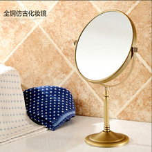 Wholesale And Retail Deck Mounted Bathroom Mirror Antique Brass Beauty Makeup Mirror Dual Sides Round Mirror Magnifying Mirror(China (Mainland))