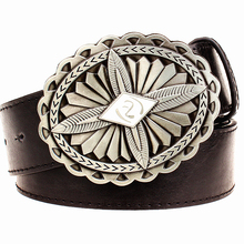 Buy Fashion New men's leather belt metal buckle needle knot punk rock belts exaggerated indian pattern design belt hip hop girdle for $9.65 in AliExpress store
