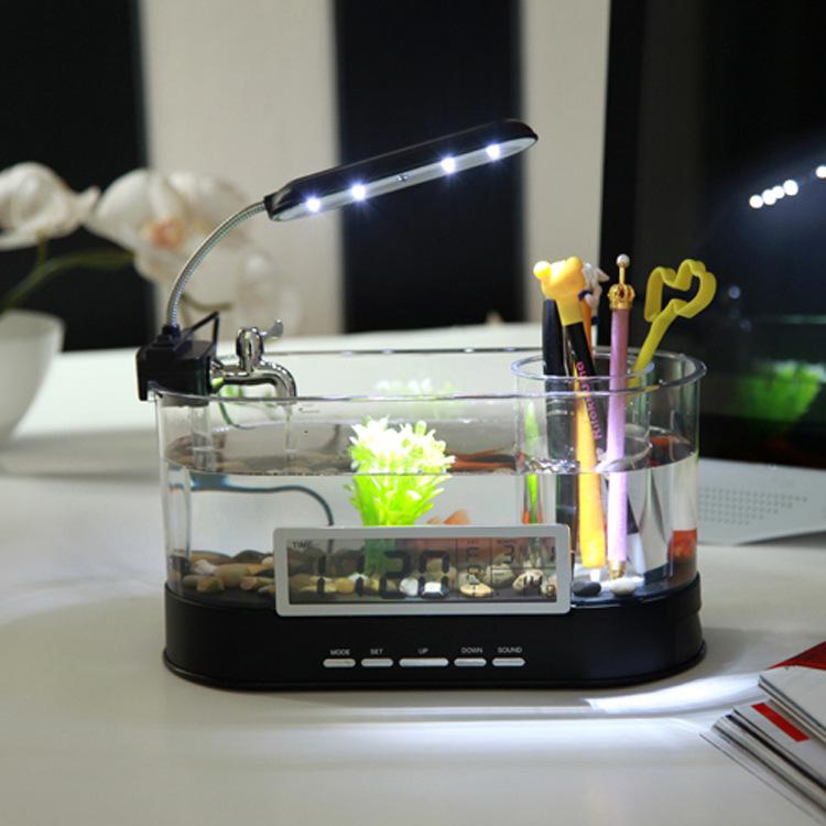 Small fish tank, USB aquarium, mini fish tank, mini aquarium, mini fish tank ecology(China (Mainland))