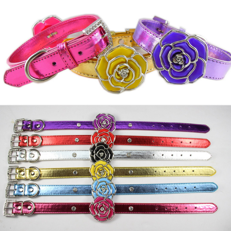Adjustable Puppy Cat Collars Pet Products Dog collar Neck Safety Rose Flowers(China (Mainland))