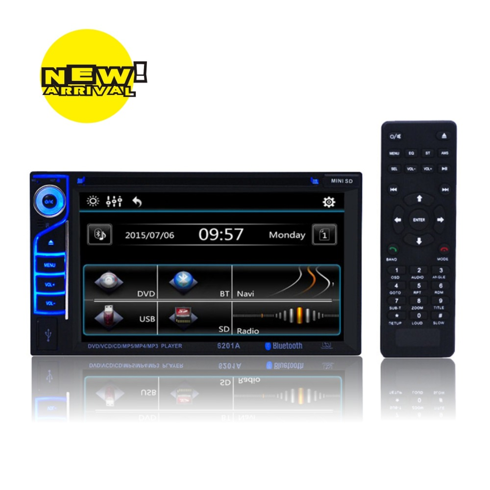 """7 color 6.2"""" universal car dvd player built in Bluetooth FM wireless remote control 6201A(China (Mainland))"""
