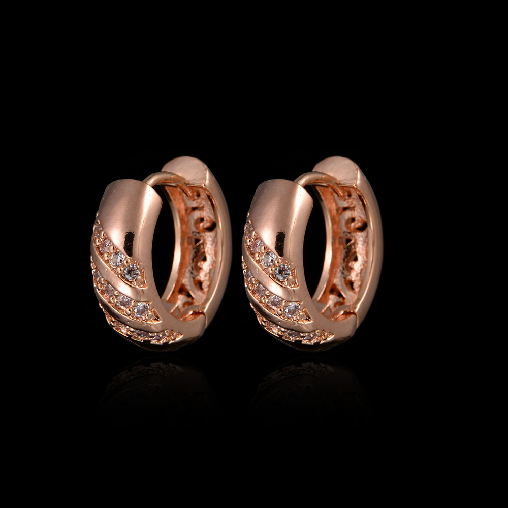 Wholesale JE16014 Newself Earrings Rose Gold Plated Tiny Cubic Zirconia Small Hoop Earring Fashion Jewelry For Women Brincos(China (Mainland))
