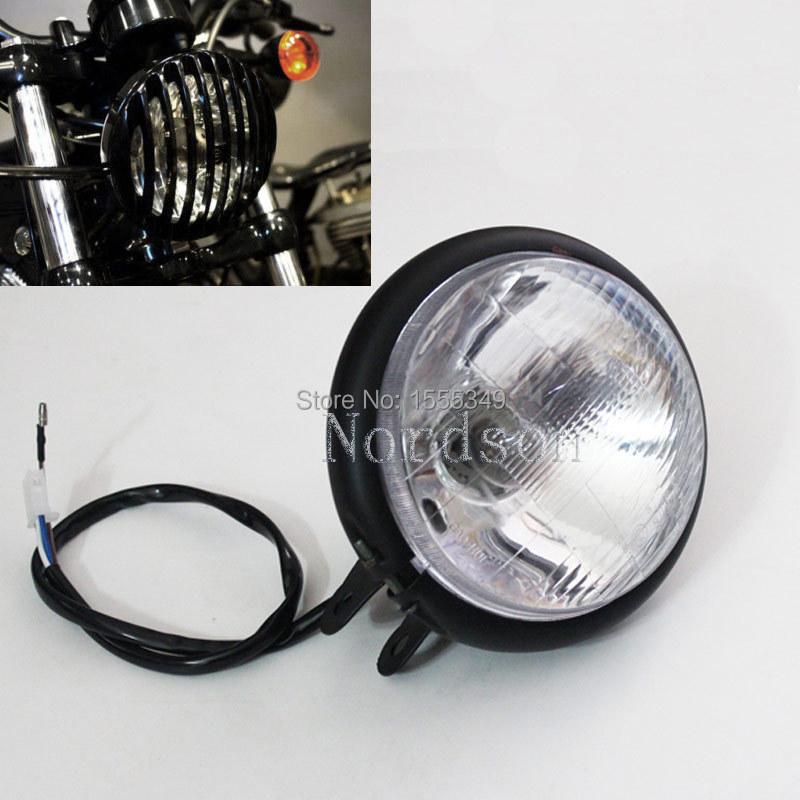 Free shipping Metal Aluminum Black Headlamps Headlight For Harley Chopper Motorcycles Custom(China (Mainland))