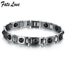 New Fashion Italy Style Love Bracelet  316L stainless steel bracelet, magnetic energy with health care stone for men 635(China (Mainland))