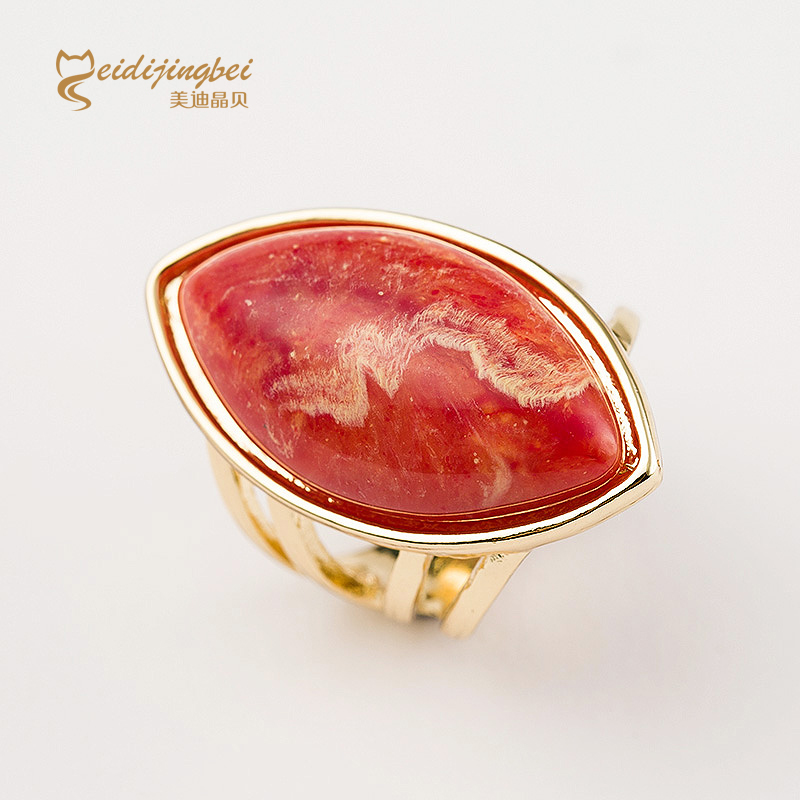 Six colors jade natural stone ring female gold plated zinc alloy women party rings sapphire ruby jewelry anillos mujer MDJB024(China (Mainland))
