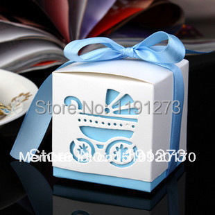 2Blue Baby Carriage Cande Box Shower Wedding Favor Paper Favour Gift Candy Boxes Best - Luis's Lovely&Romantic store