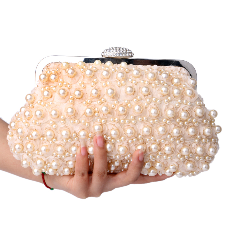 Rose beaded women evening bags clutch pearl lace handbags shell shaped evening bag for wedding bridal purse bags(China (Mainland))