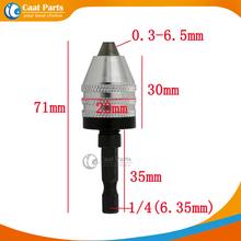 0.3-6.5mm 1/4″ 6.35mm (White ) Keyless Drill Chuck Screwdriver Impact Driver Adaptor Hex Shank Drills Grinder Converter