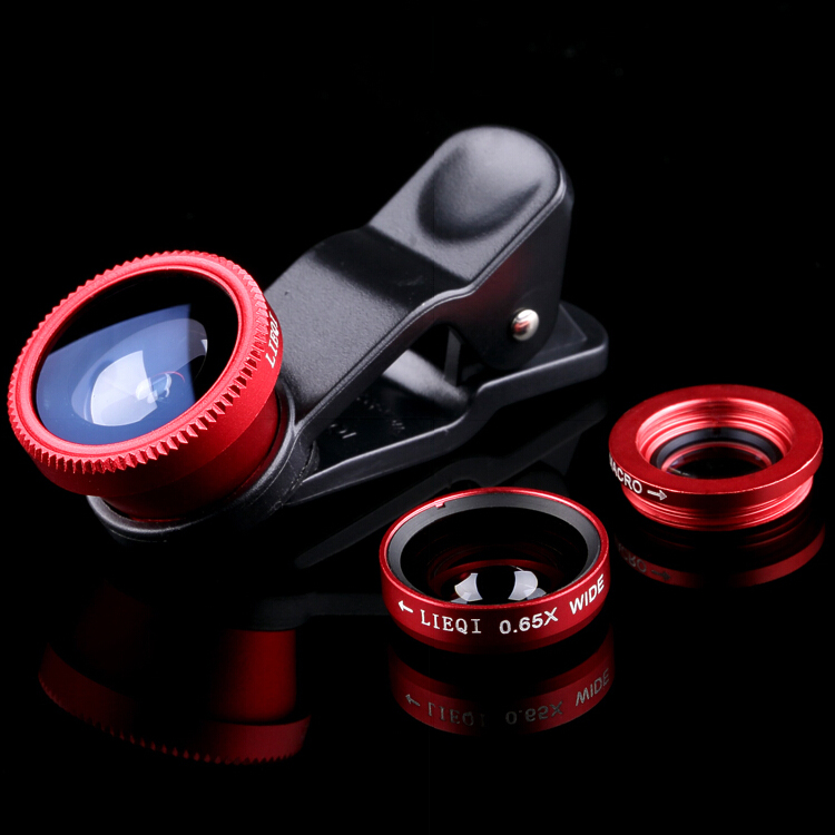 luxury universal lens by fashion clip 3 in 1 camera fish eye wide angle macro for iphone 4 4s 5 5s 6 s samsung s4 s5 s6 sony htc(China (Mainland))