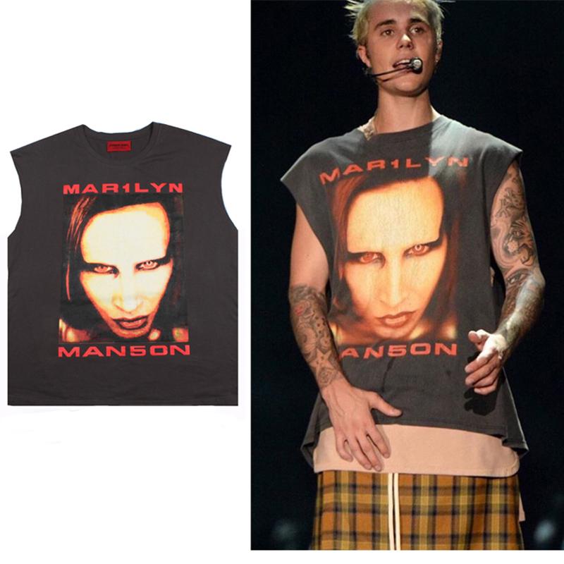 TOP hiphop hipster vintage rock t shirt graphic tees men shirt MANSON purpose tour justin bieber drake fear of god harajuku swag(China (Mainland))