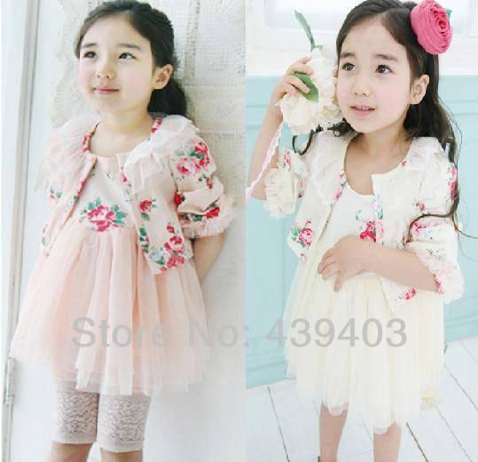Free shipping kids girls suit clothing sets clothes long sleeve shawl lace small coat + net yarn princess dress girls two-piece(China (Mainland))