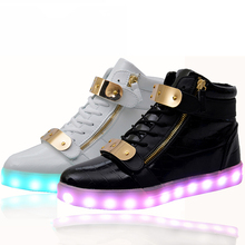 wholesale cheap lights up led luminous casual shoes high glowing with charge simulation sole for women & men adults neon basket