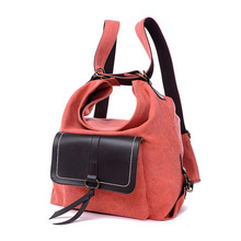 2016 New Women Backpack Multifunctional Canvas Travel Portable Crossbody School Bag Rucksack Backpacks Dual Use Shoulder Bag(China (Mainland))