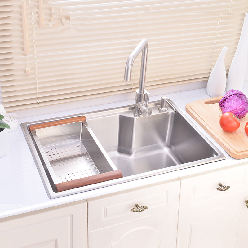 Hand Made Brushed 304 Stainless Steel Kitchen Sink Faucet Kitchen Accessories Single Bowl 65 45