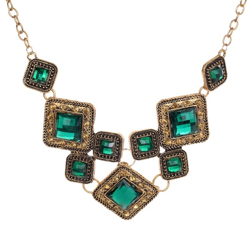 Retro Bronze Green Pendant Chain Cocktail Necklace Women Party Friend's Gift(China (Mainland))