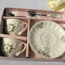 Supply Jingdezhen Ceramic six sets of bone china coffee cup and saucer Coffee Set shiragiku Double