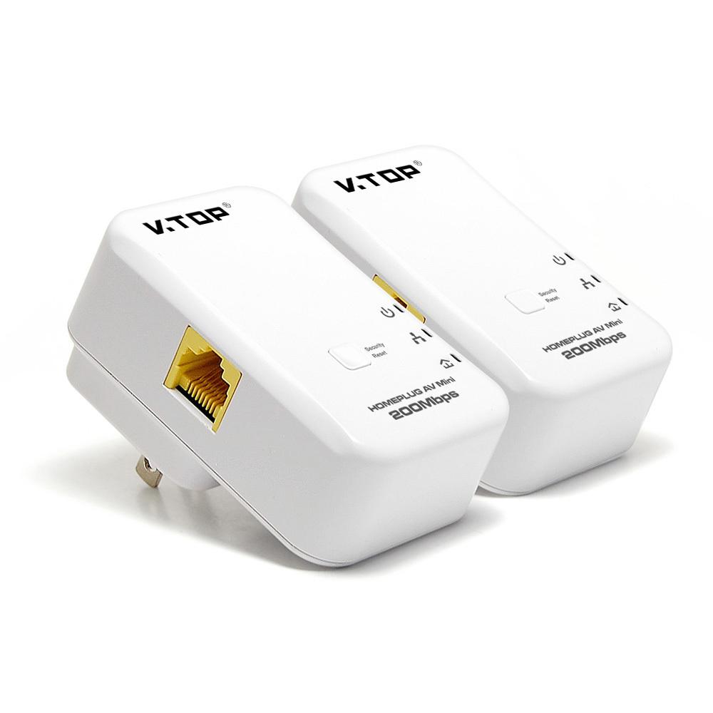 V.TOP PLN204(USA) 200Mbps Wallmount Mini HomePlug Power Line Adapter Starter Kits (By Pairs)-USA Power Plug(China (Mainland))