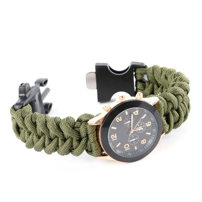 Bracelet Watch Compass Flint Fire Starter Scraper Whistle Survival Gear New Arrival 2017