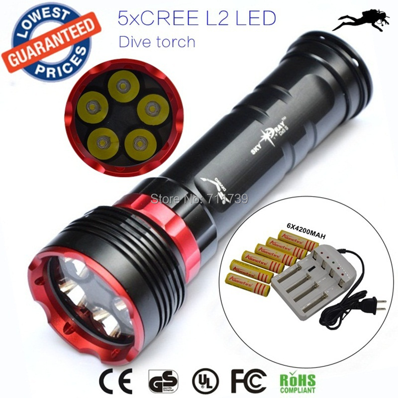 Buy 10000 Lumens 3 Modes 6 x Cree XML L2 LED Scuba Diving ...