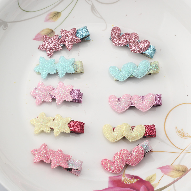 Cute Styles Barrette Hair Accessories New Design Shiny Star Baby Accessories Girls Heart Hairpins Kids Ornament Hair Clip(China (Mainland))