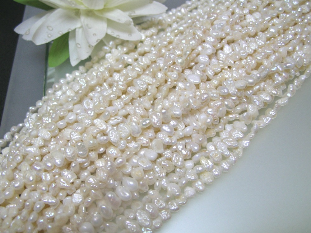 3 loose strands vintage freshwater biwa pearl white side drilled flat oval 3-4mm(China (Mainland))