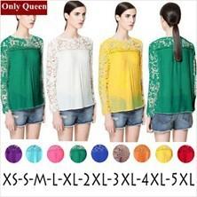 новых весной 2015 женщин выдалбливают кружева блузки рубашки с длинным рукавом шифоновые рубашки Топы женской одежды Повседневная рубашка