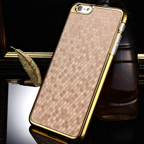 Luxury Hard Case iPhone 6 Plus 5.5 inch Inch Retro PU Leather + Chromed Gold Edge Phone Back Cover Cases - Tomkas Official Store store