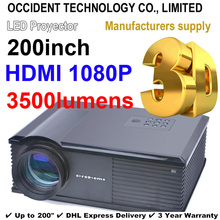 Black 200inch 3500Lux Full HD Business Digital Advertising Education 3D Projector Projection Free Shipping(China (Mainland))